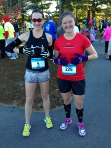 Lauren and I showing off our gloves at the start.